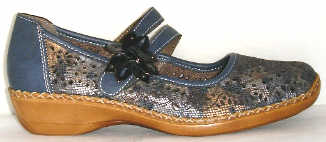 Rieker 41372 90 Blue Combo Velcro Leather |
